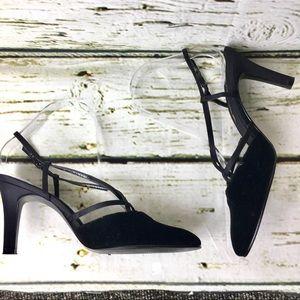 Nina Black Faux Suede Heels Size 8.5 M